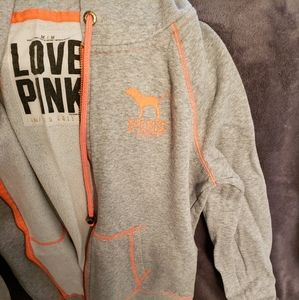 Vs pink grey and orange zip up hoodie